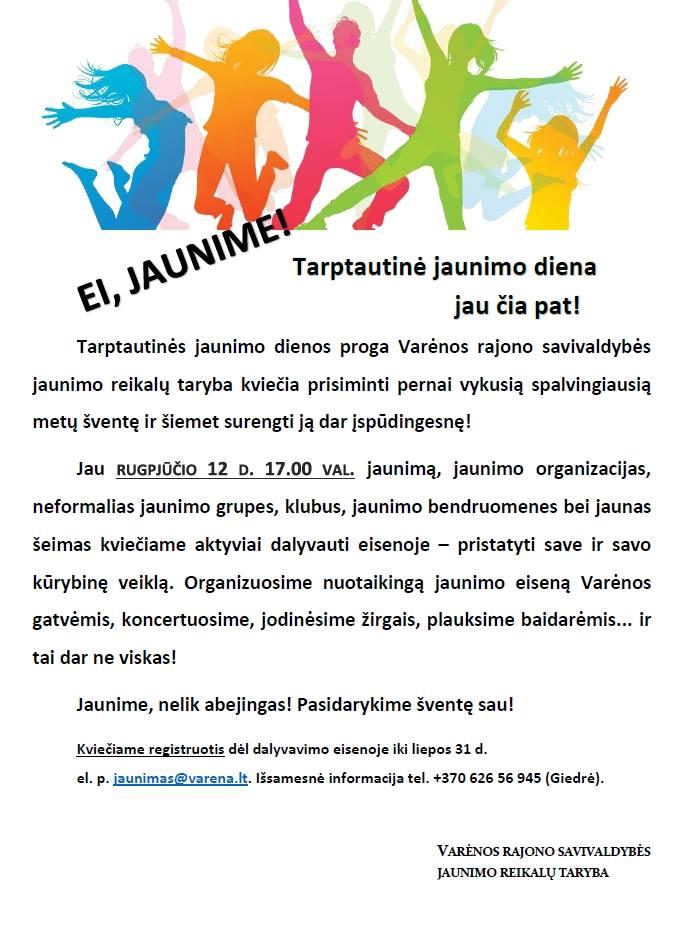 tarptautine jaunimo diena varena registracija