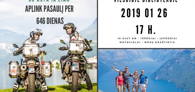Susitikimas su pasaulį motociklais apkeliavusiais Asta ir Linu