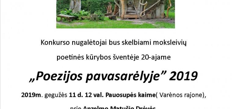 """Moksleivių poetinės kūrybos šventė """"Poezijos pavasarėlis 2019"""""""